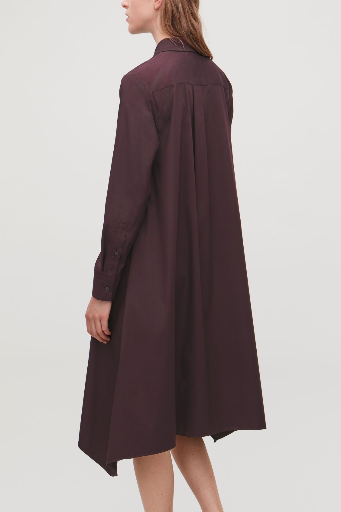Model side image of Cos handkerchief-hem shirt dress in purple