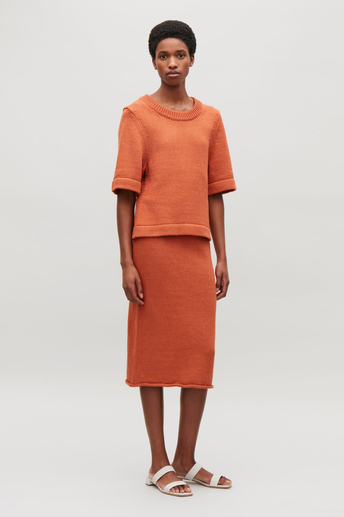 Model front image of Cos cotton-linen knit top in orange
