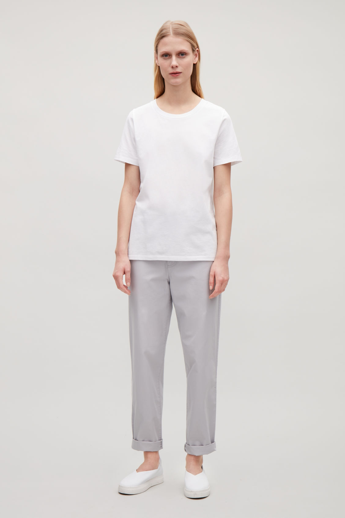 Model front image of Cos pima-cotton t-shirt  in white