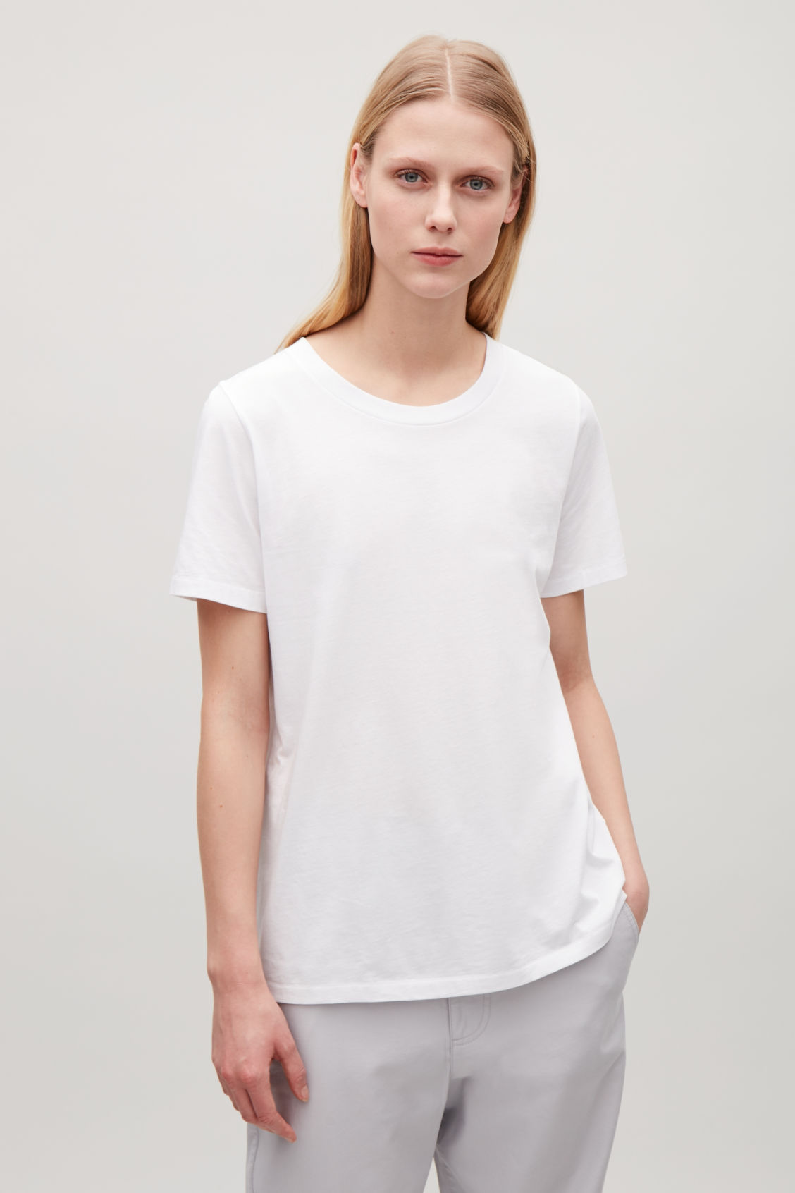 Model side image of Cos pima-cotton t-shirt  in white
