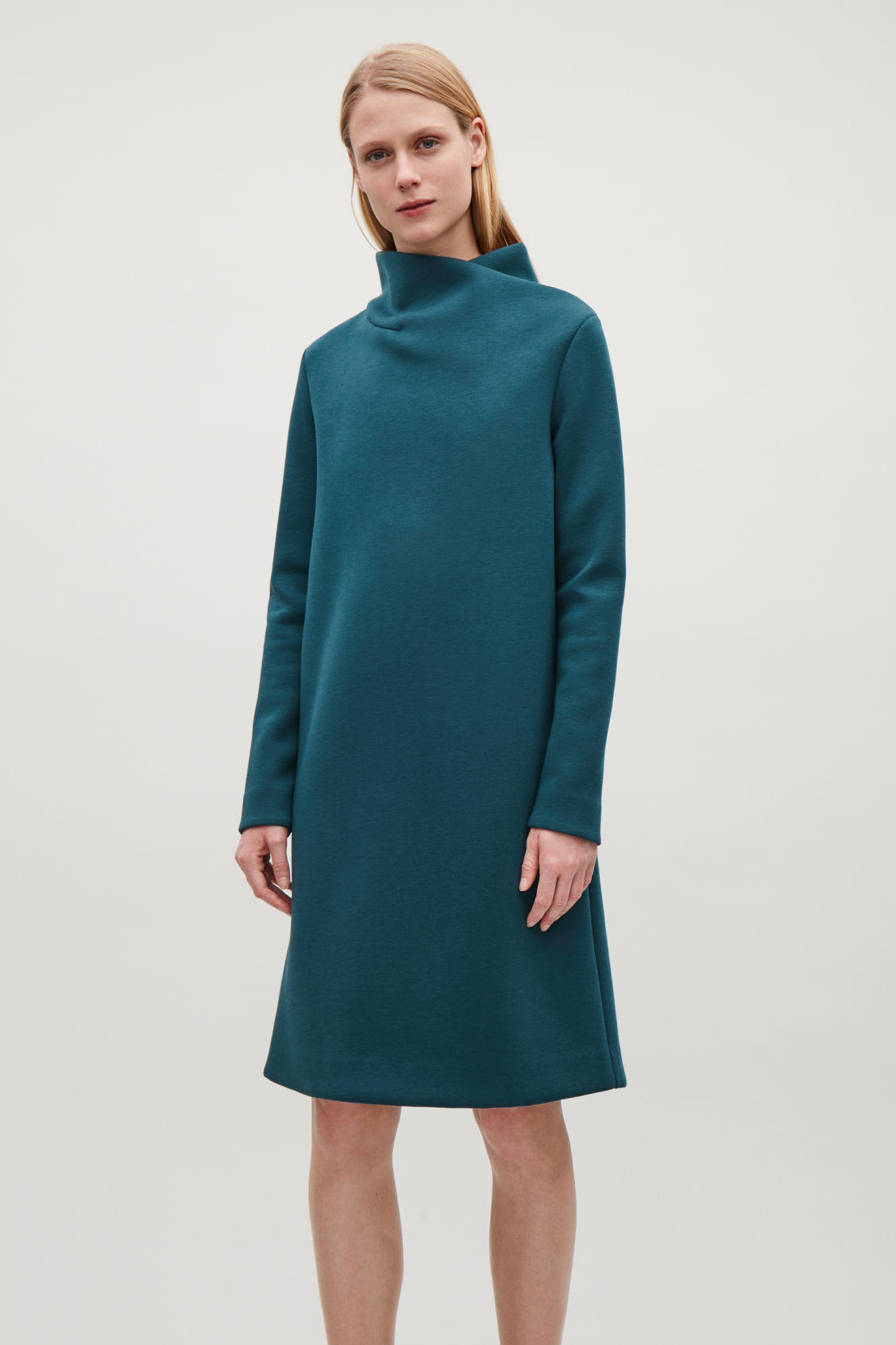 DRESS WITH DRAPED NECK - Teal - Dresses - COS