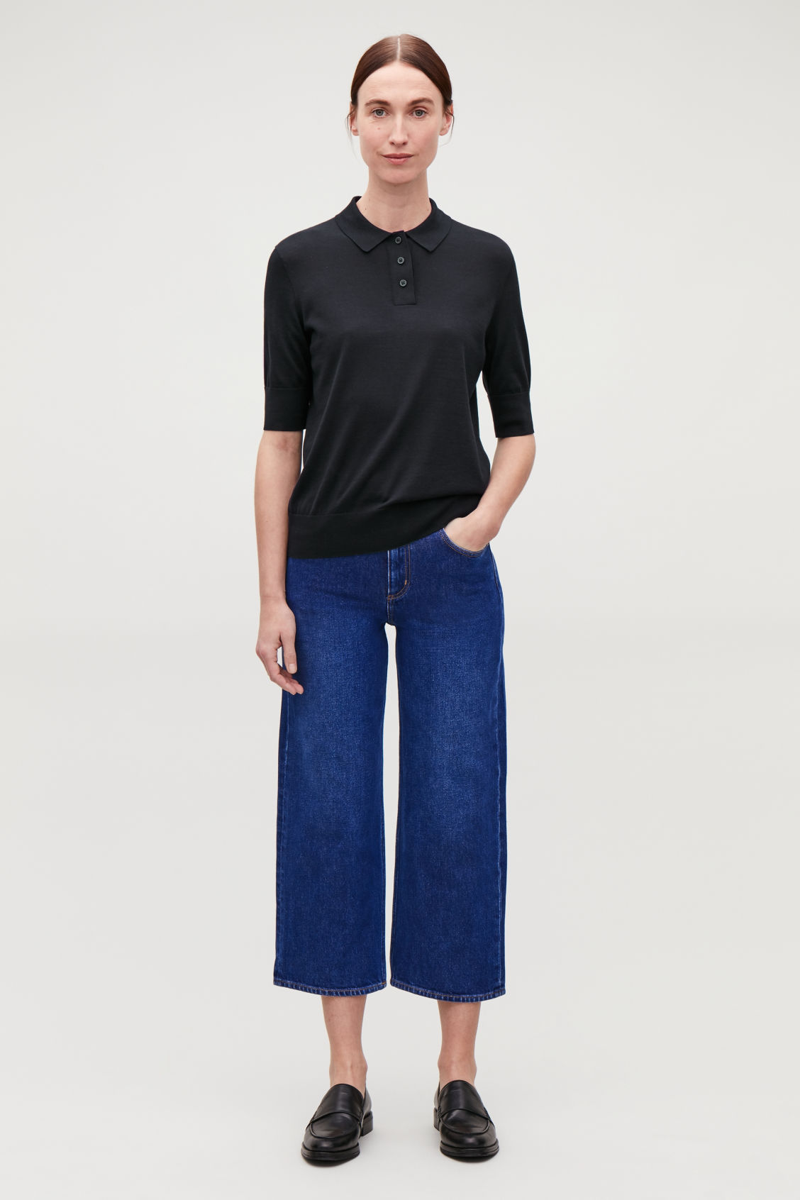 Model front image of Cos straight cropped jeans in blue