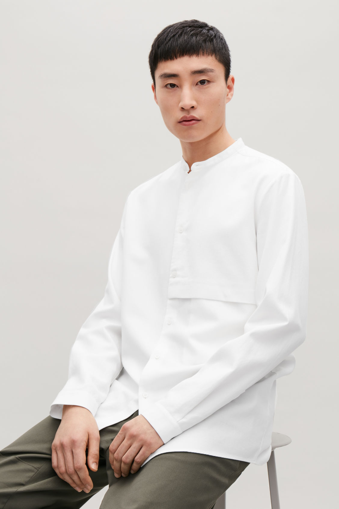 Model side image of Cos grandad-collar shirt with pocket in white