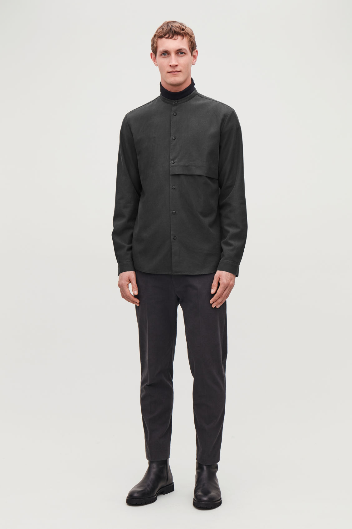 Model front image of Cos grandad-collar shirt with pocket in black