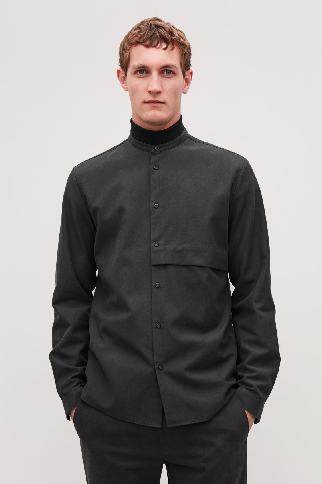 Model side image of Cos grandad-collar shirt with pocket in black