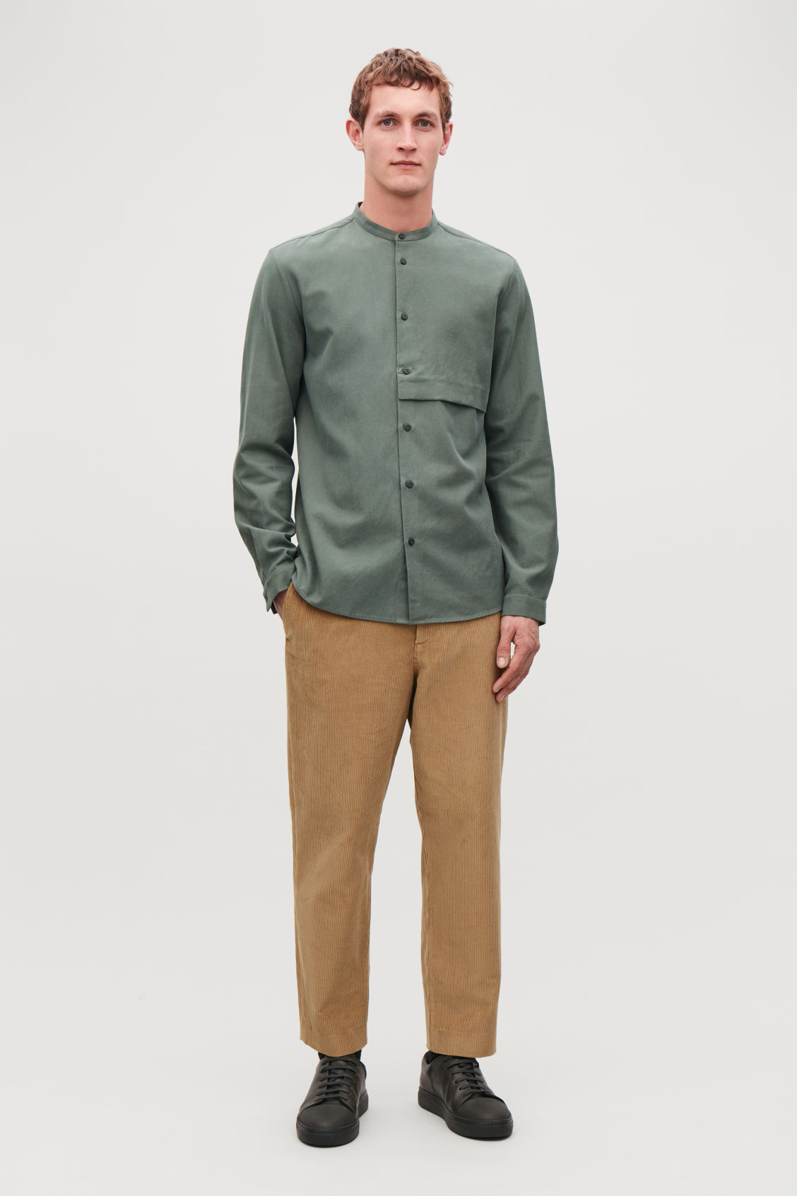 Model front image of Cos grandad-collar shirt with pocket in green