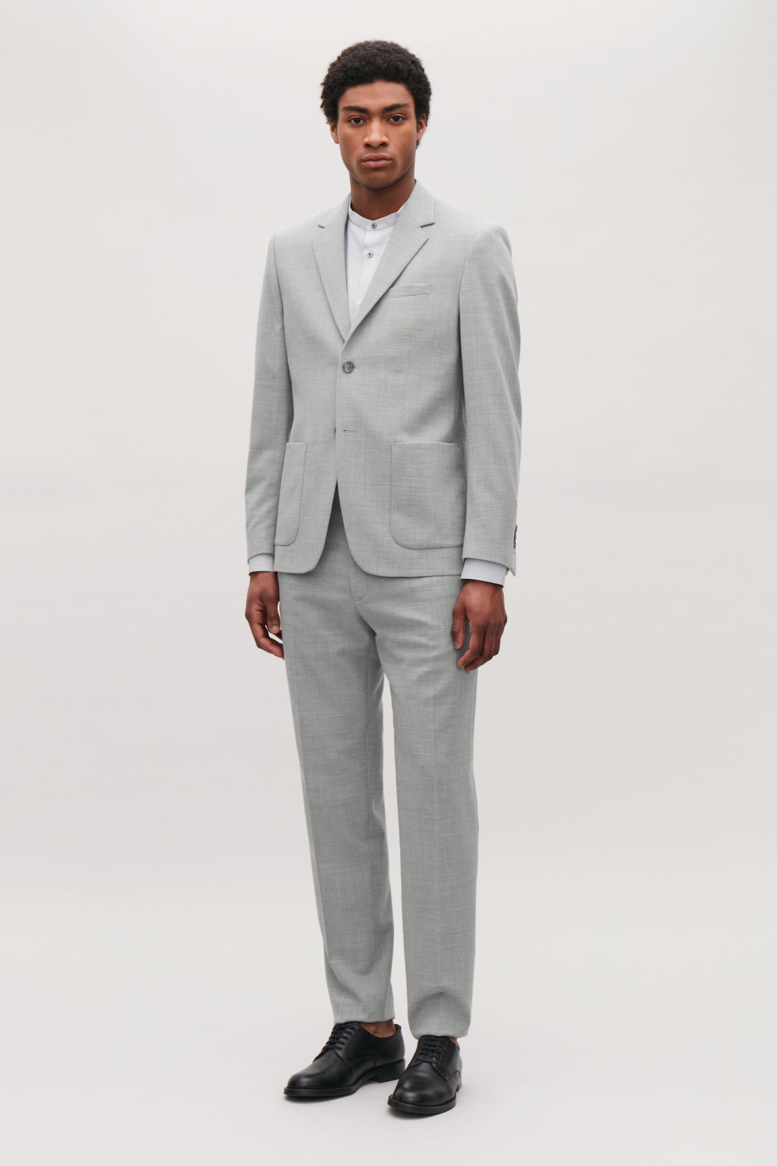 Model front image of Cos higher-break wool blazer  in grey