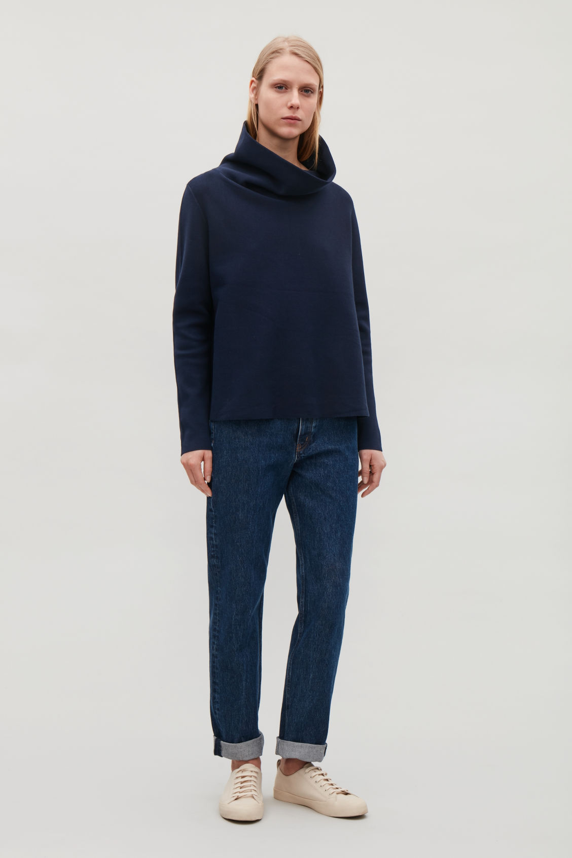 Model front image of Cos high-neck a-line jumper in blue