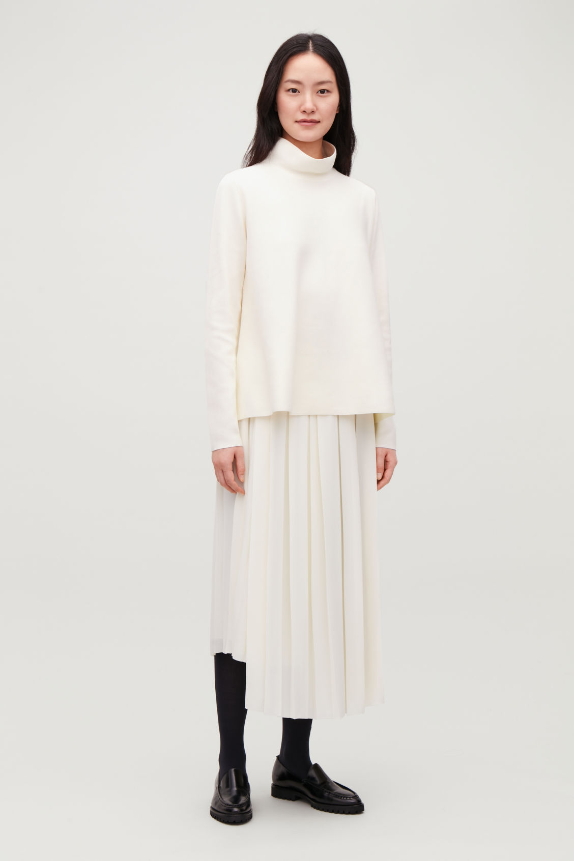 Model front image of Cos high-neck a-line jumper in white