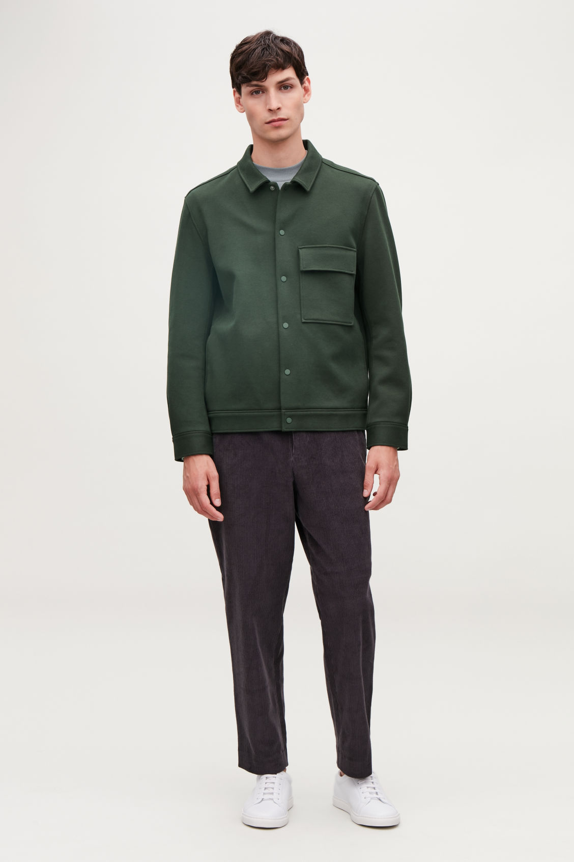 Model front image of Cos cotton-twill shirt jacket  in green