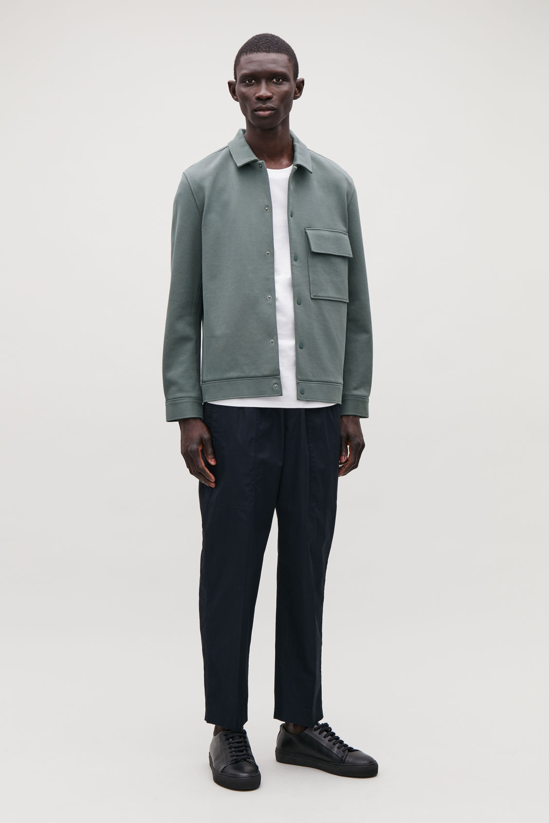 Model side image of Cos cotton-twill shirt jacket  in green