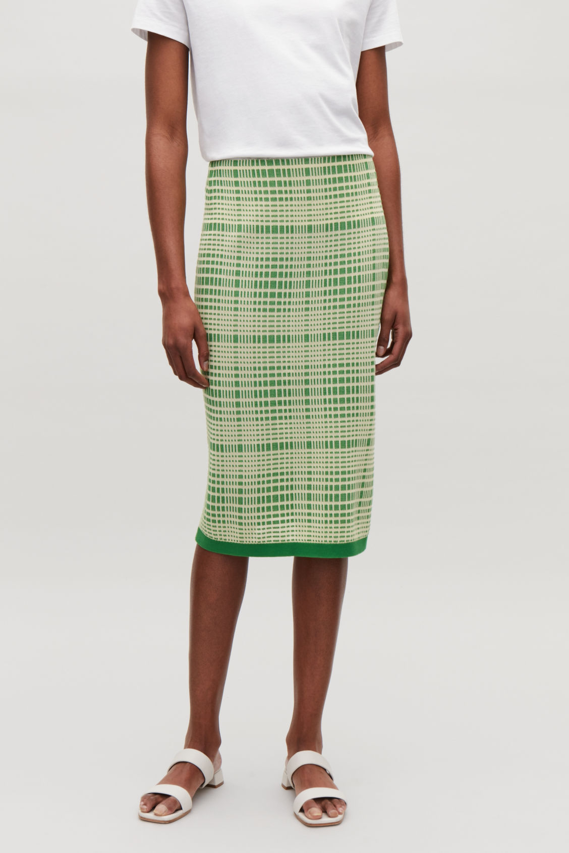 CHECKED JACQUARD KNIT SKIRT - Lime green - Skirts - COS