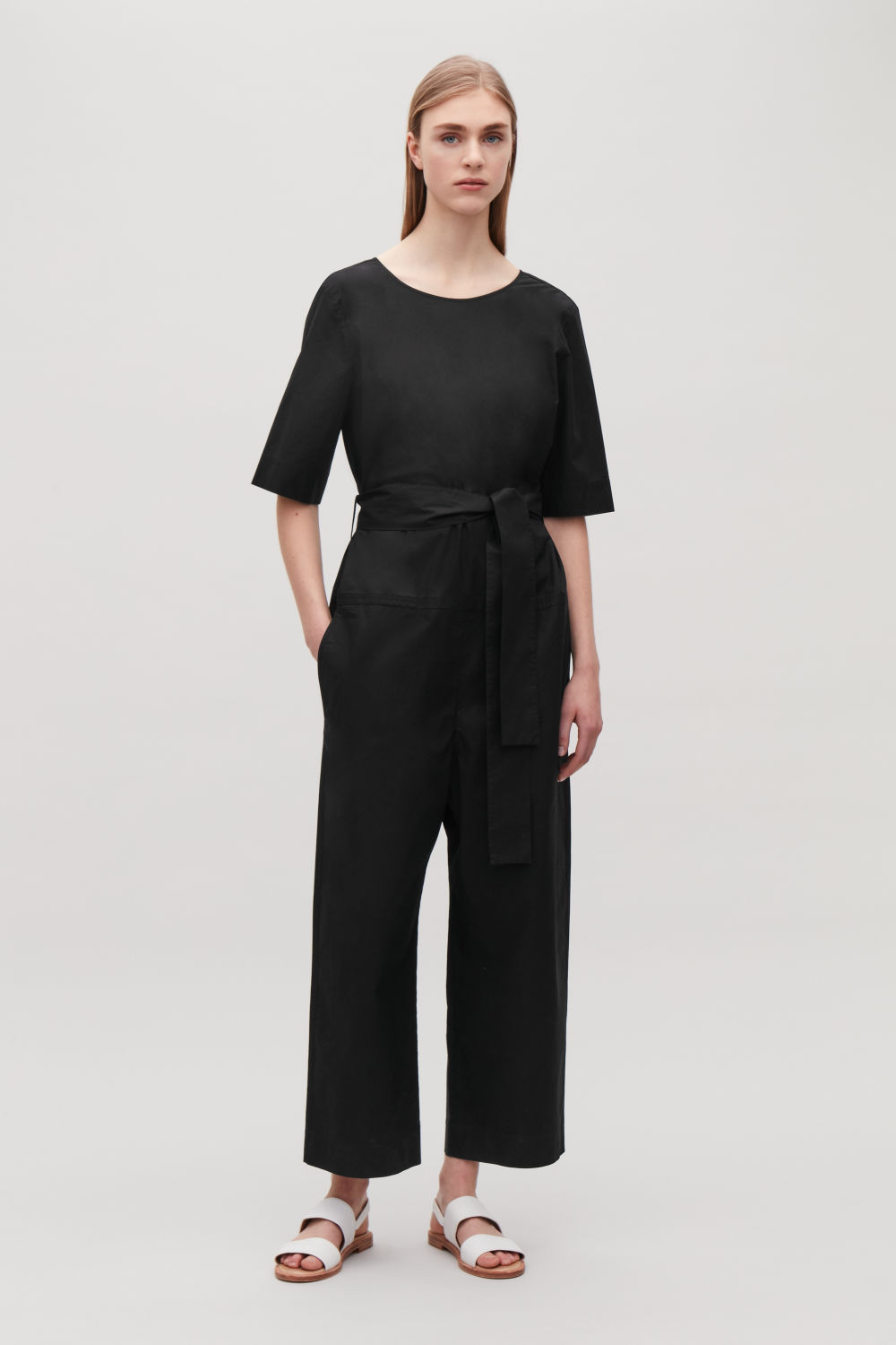 SHORT-SLEEVE POPLIN JUMPSUIT