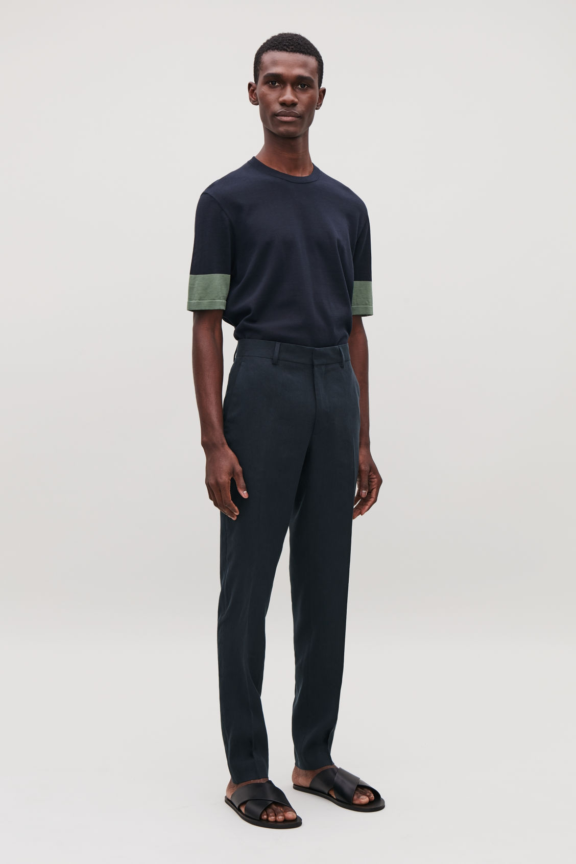 Model front image of Cos slim-fit linen trousers in blue