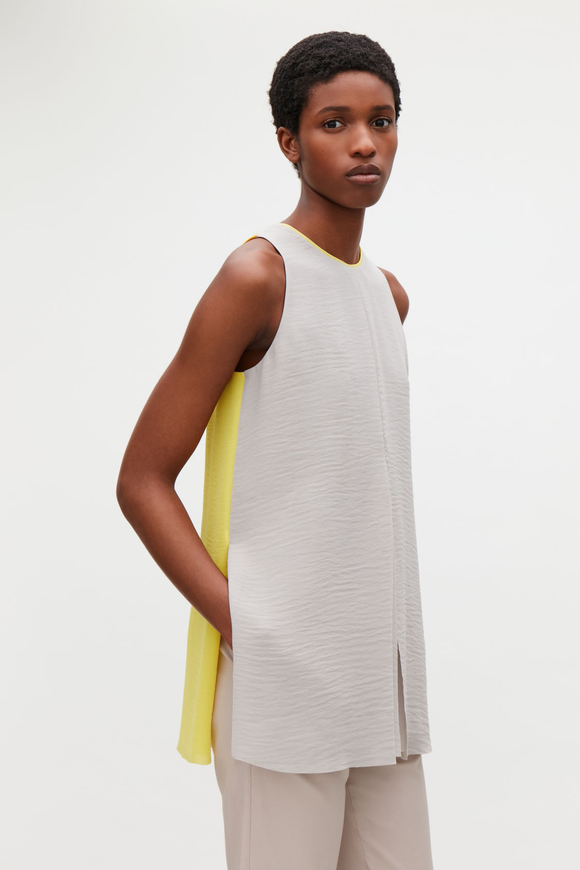 Model side image of Cos layered sleeveless top in brown