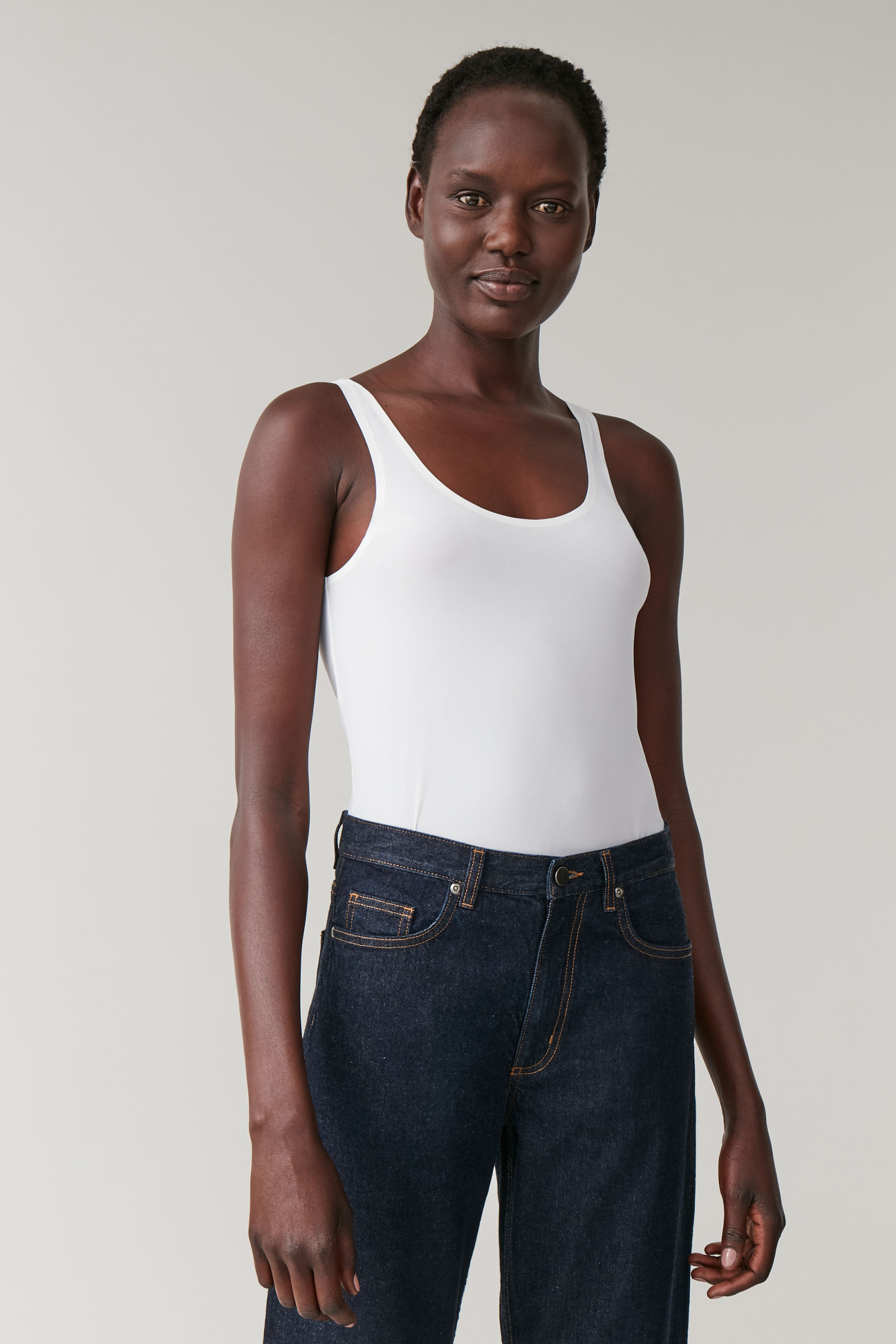 COS SEAMLESS VEST TOP,White