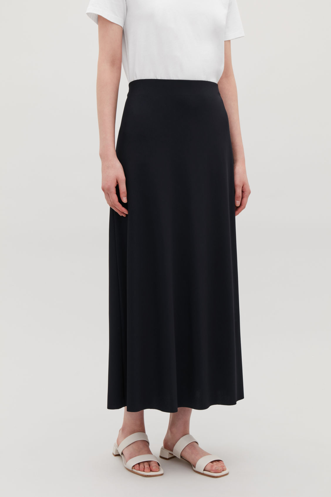 Long A Line Jersey Skirt Navy Skirts Cos