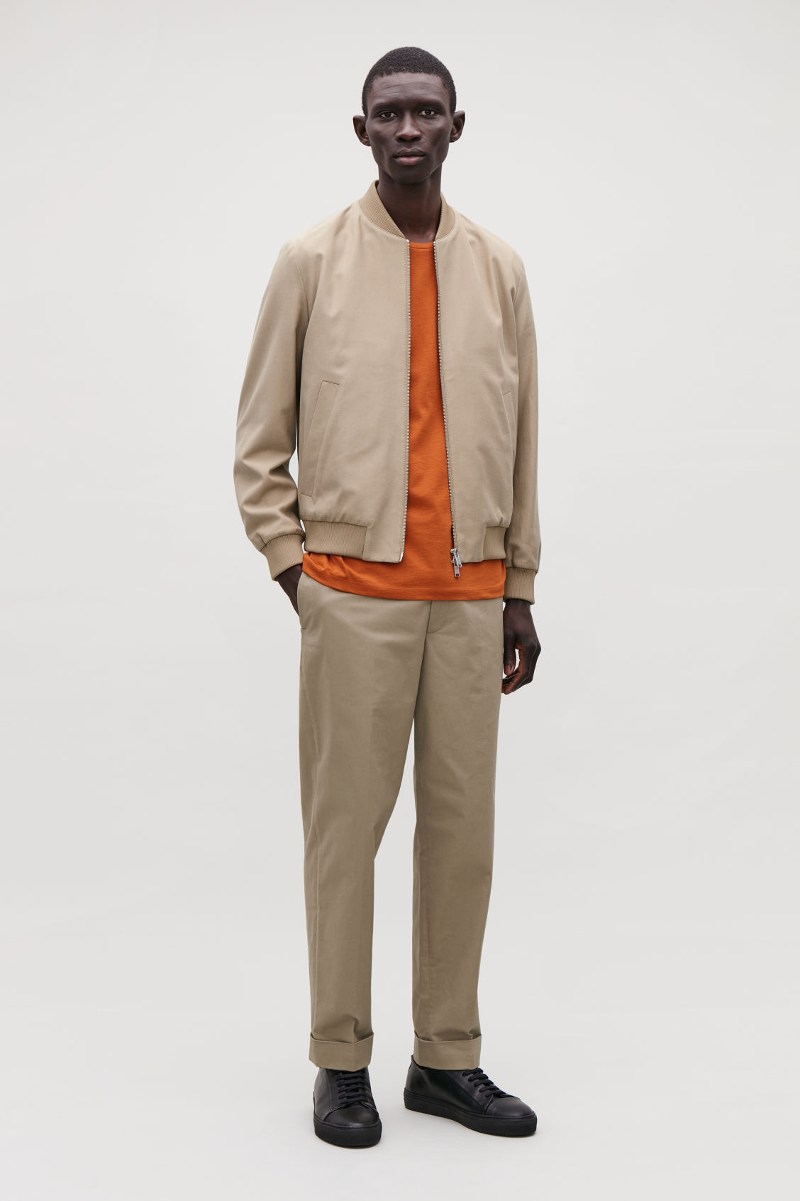 Model front image of Cos cotton bomber jacket in beige