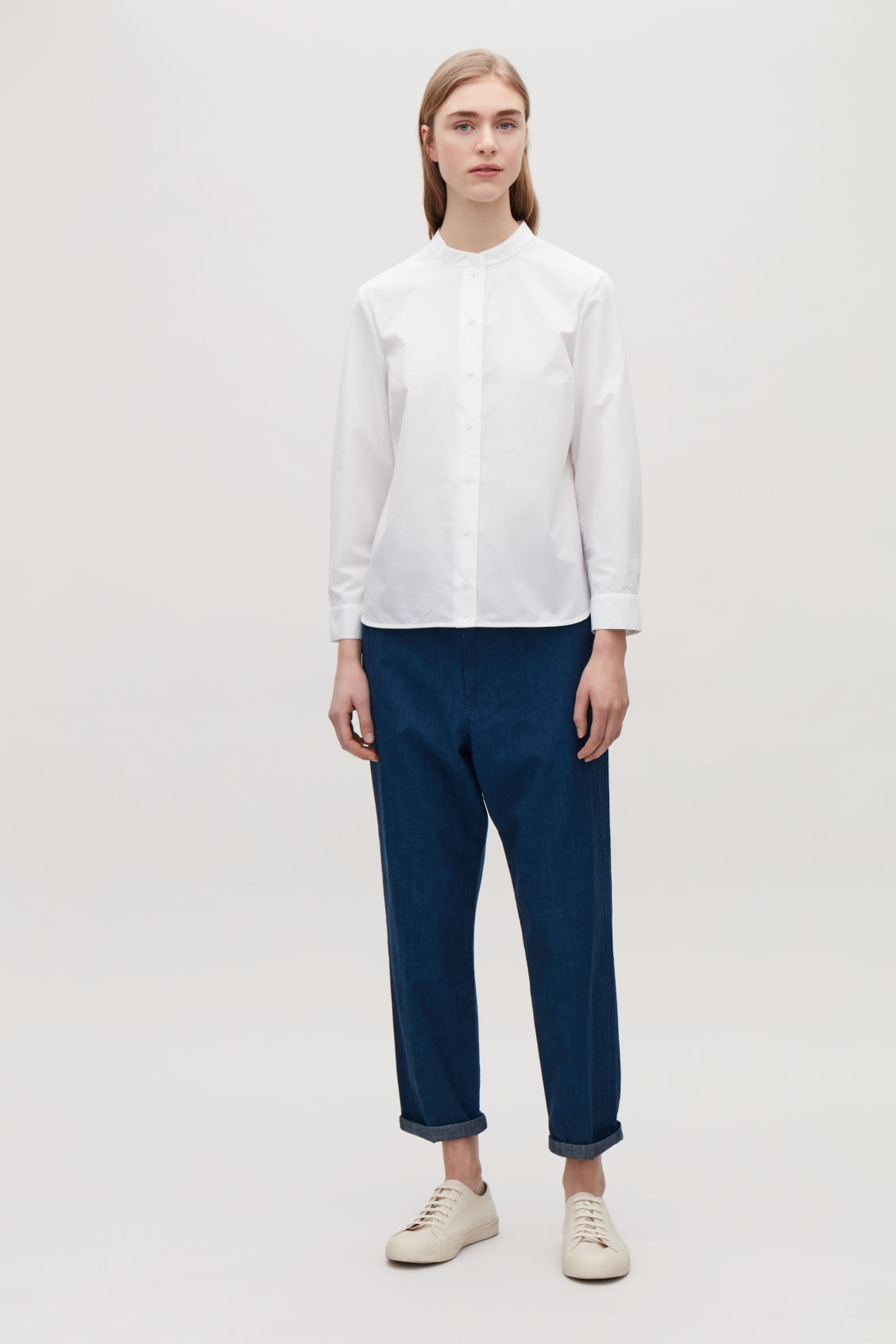 Model front image of Cos grandad-collared poplin shirt  in white