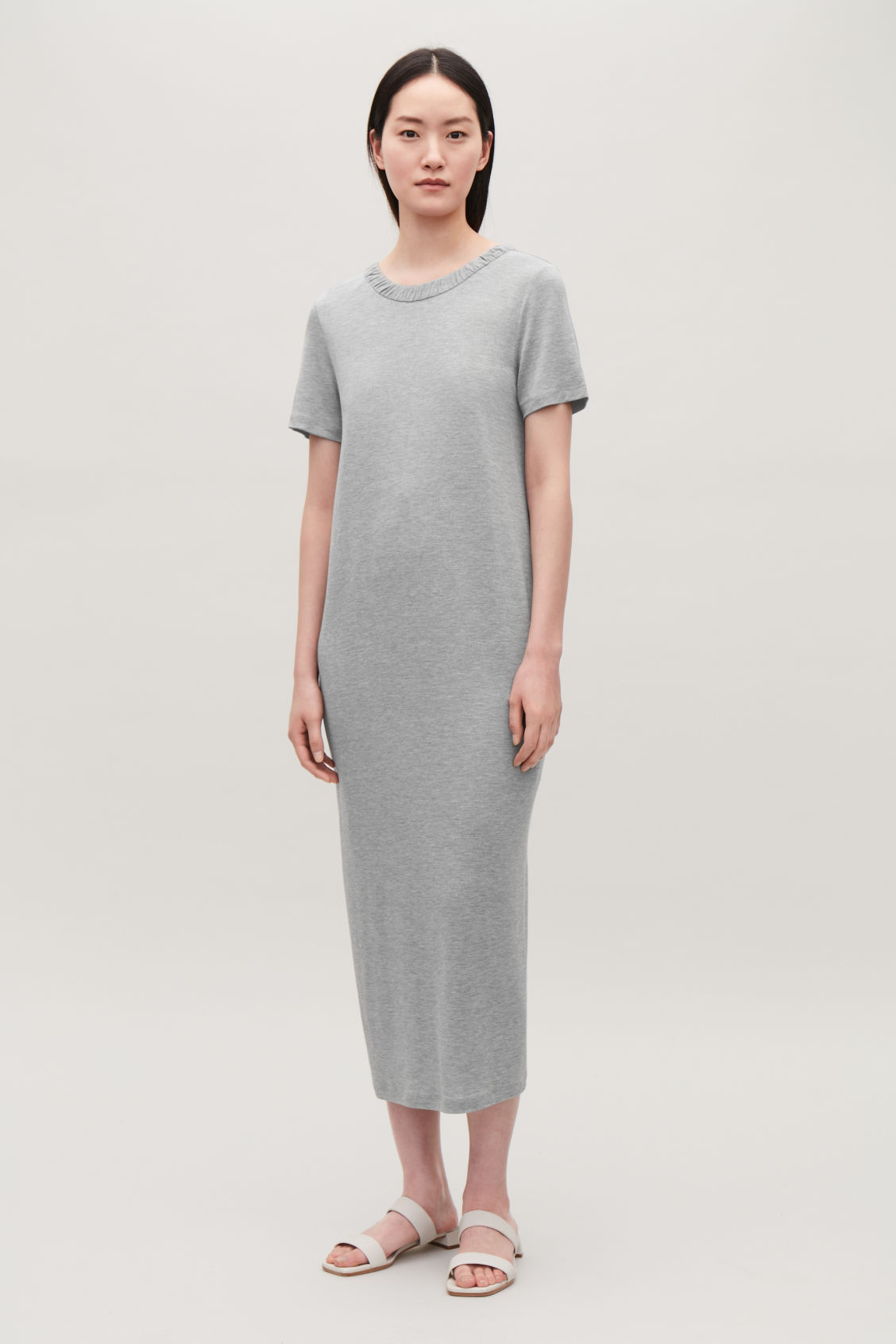 Model front image of Cos long gathered jersey dress in grey