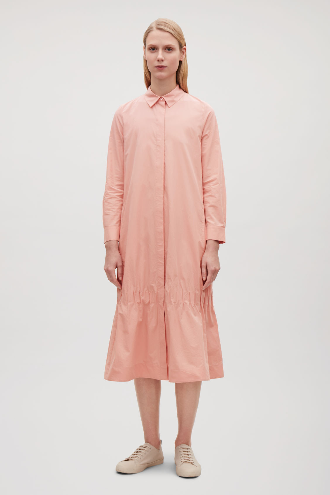 Model front image of Cos shirt dress with gathered hem  in pink