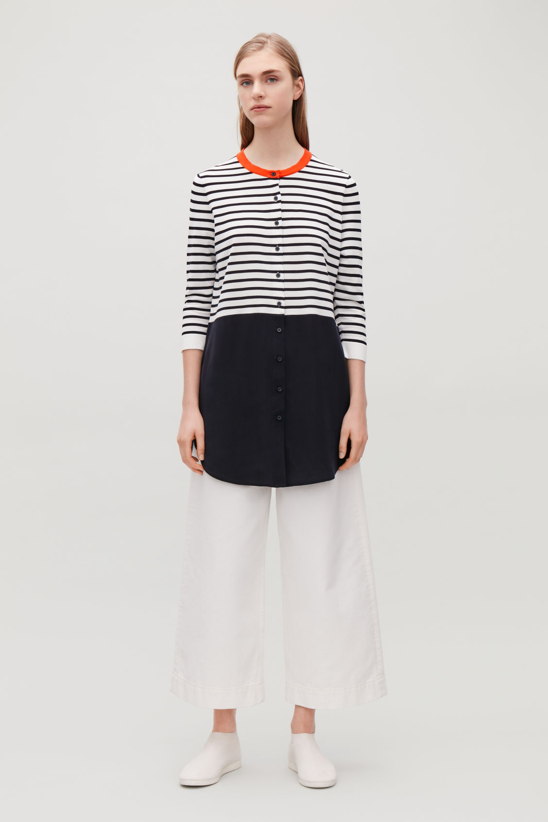 Model front image of Cos striped knitted-woven top in blue