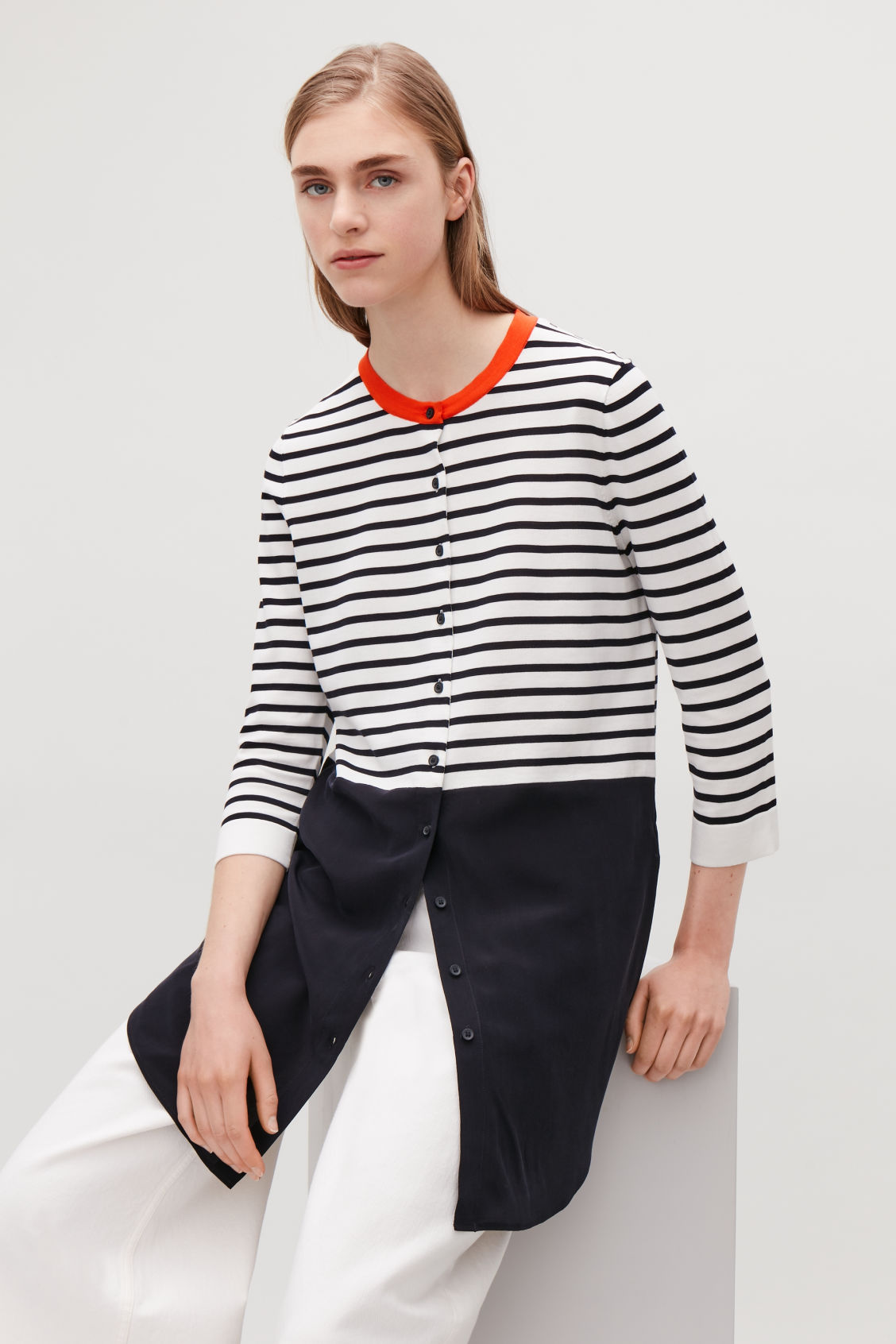 Model side image of Cos striped knitted-woven top in blue