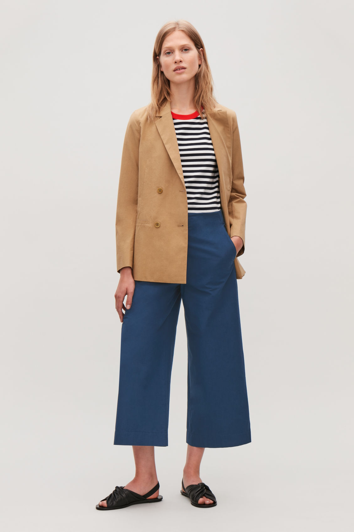 Model side image of Cos poplin wide-leg trousers in blue