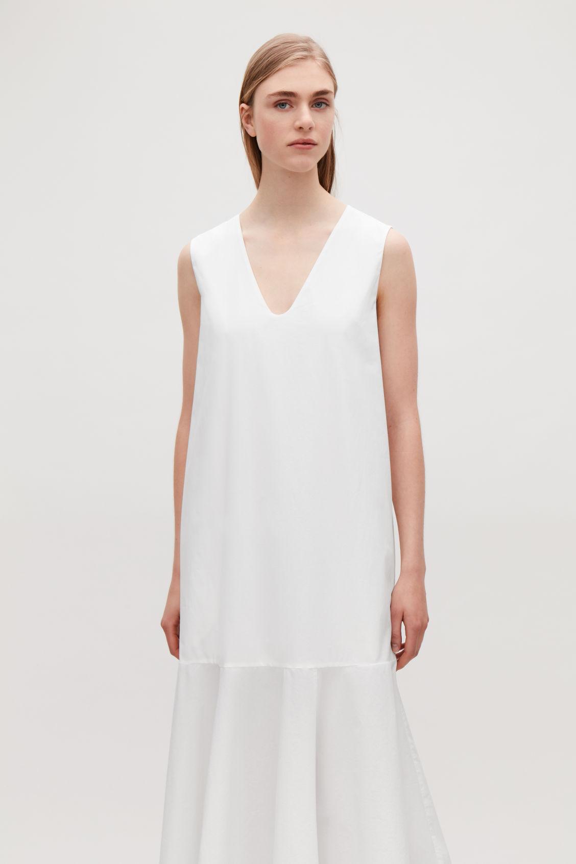 COTTON POPLIN SLEEVELESS DRESS - White - Dresses - COS