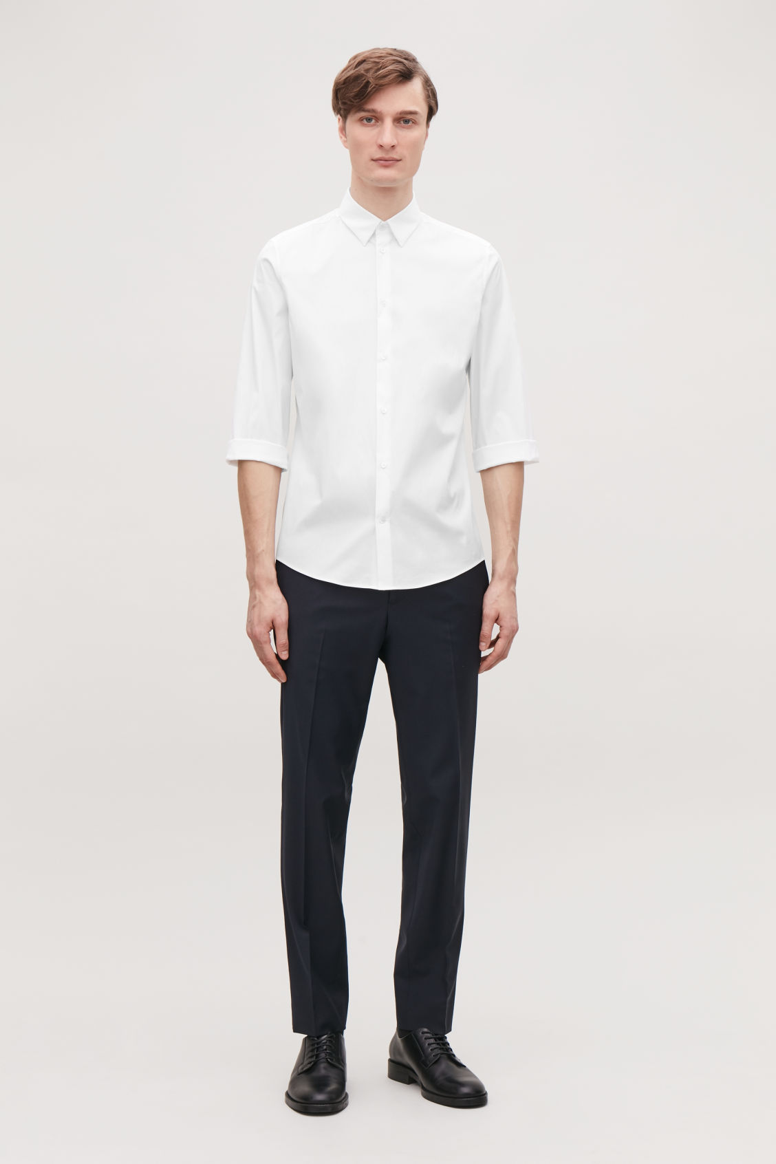 Model front image of Cos ¾-sleeved cotton shirt in white