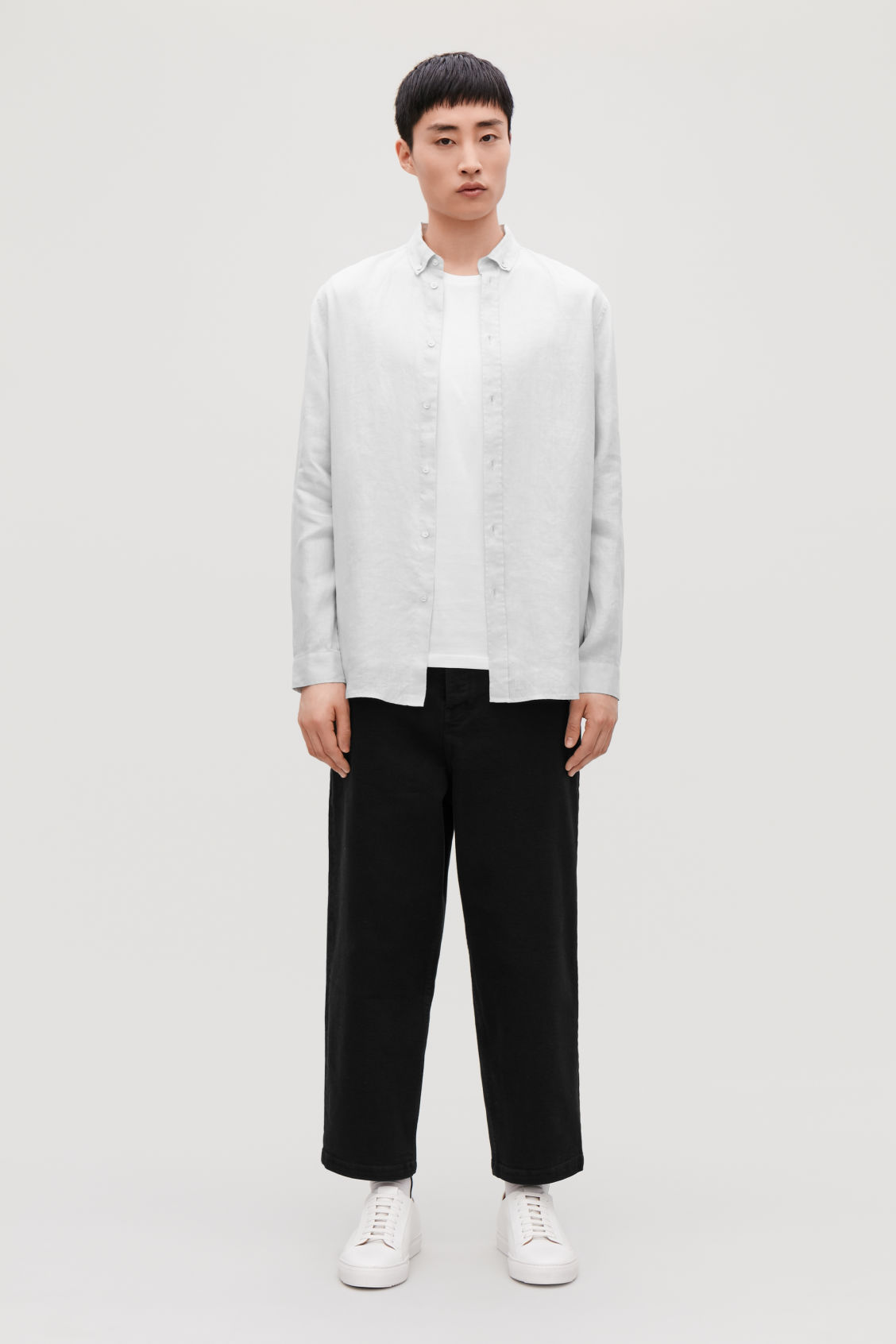 Model front image of Cos linen shirt in grey