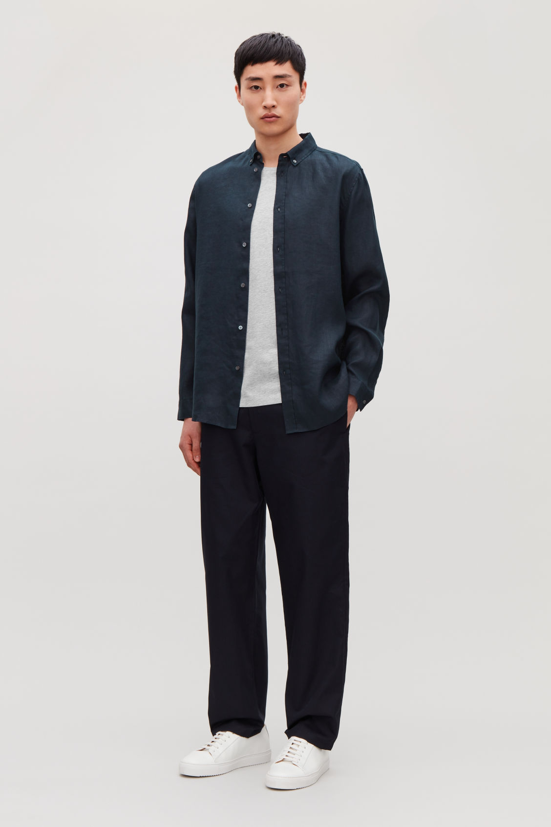 Model front image of Cos linen shirt in blue