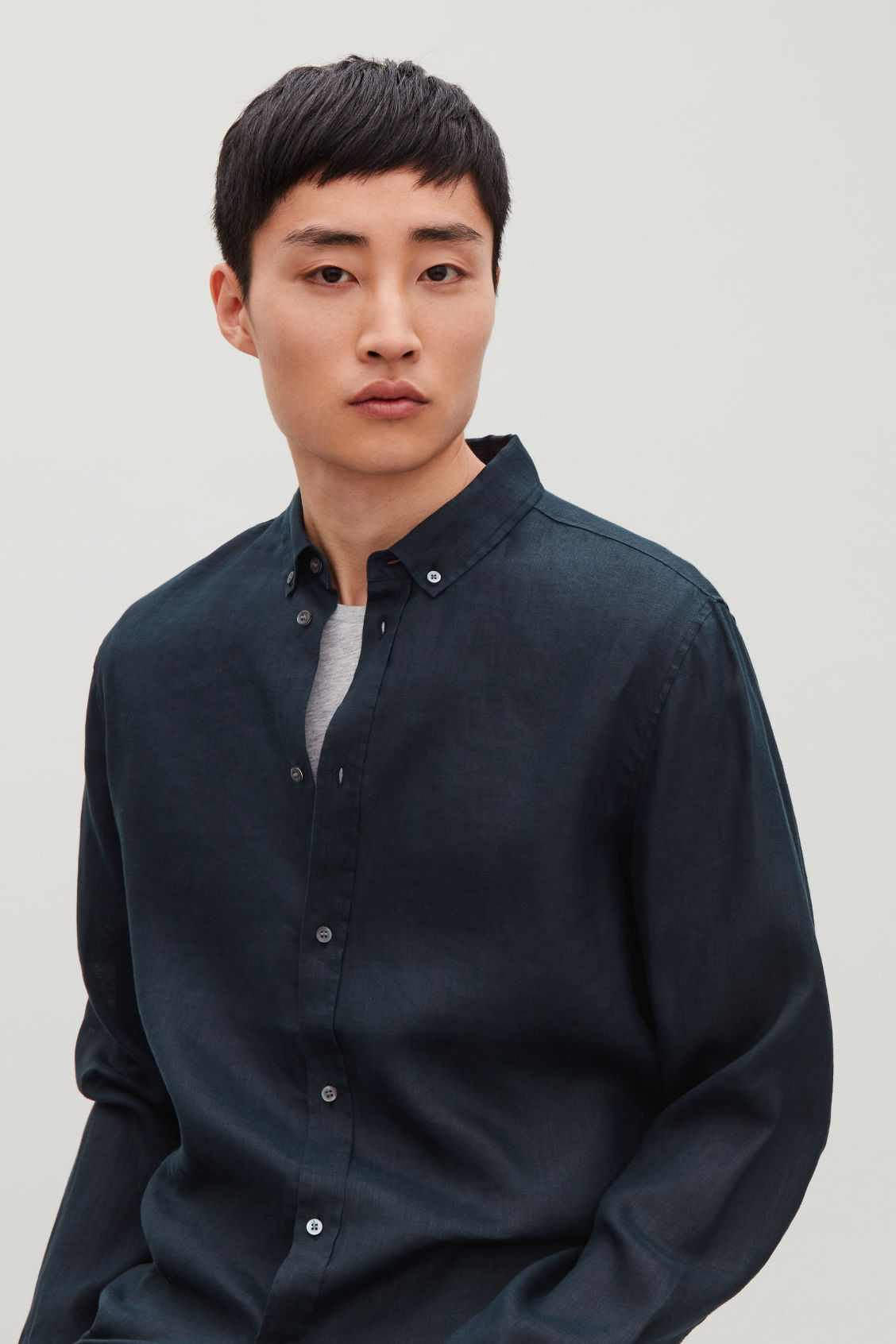 Model side image of Cos linen shirt in blue
