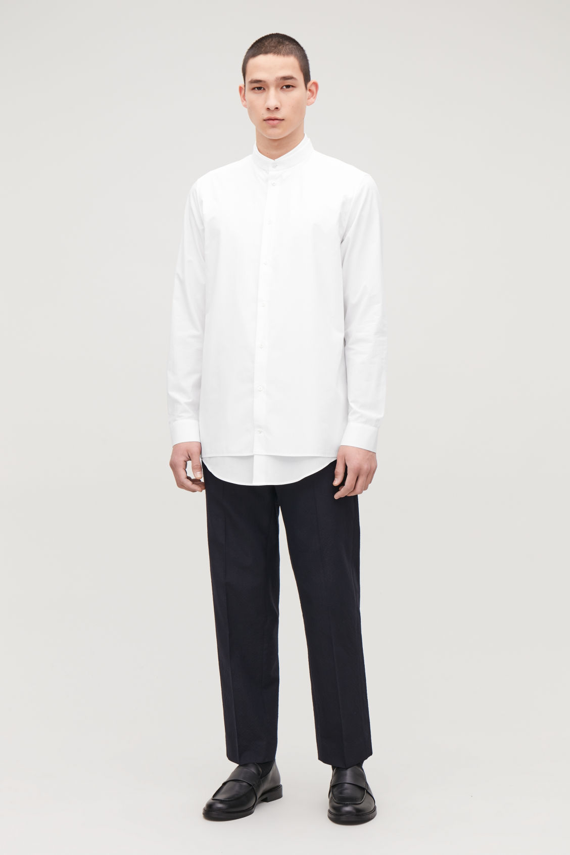 Model front image of Cos double layer cotton shirt in white