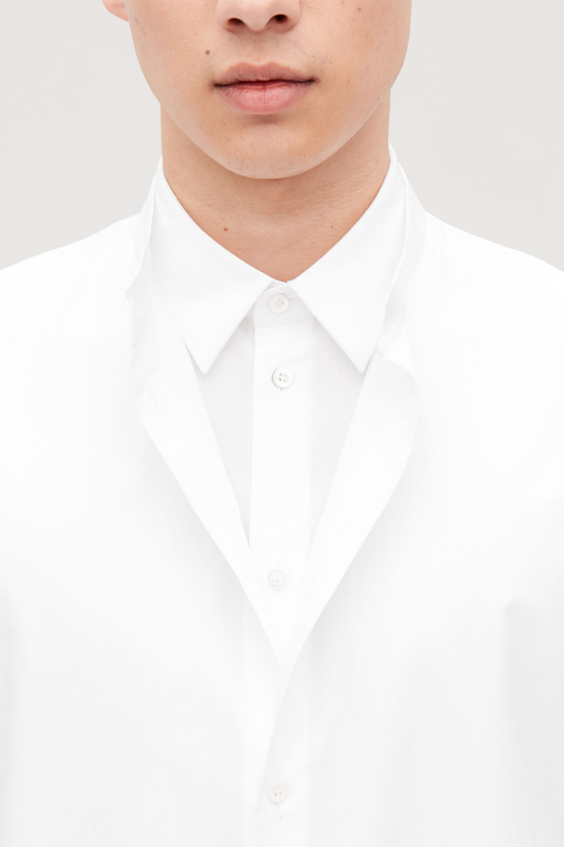 Model side image of Cos double layer cotton shirt in white