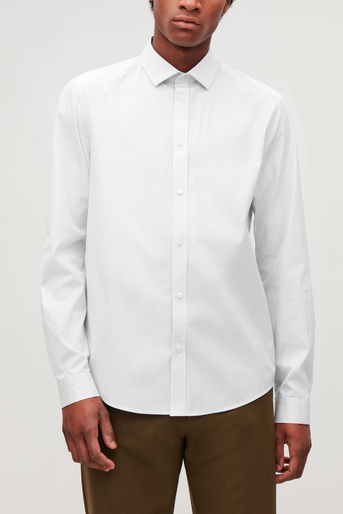 Striped Cutaway Collar Shirt White Grey Shirts Cos