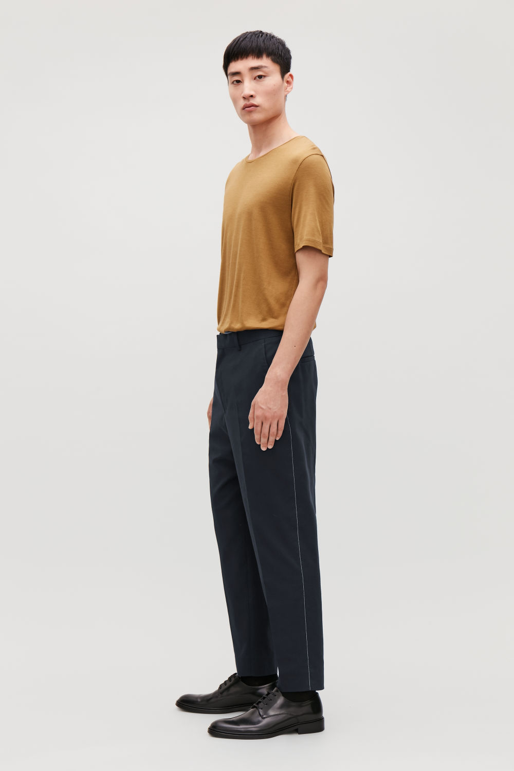 TOPSTITCHED CROPPED TROUSERS