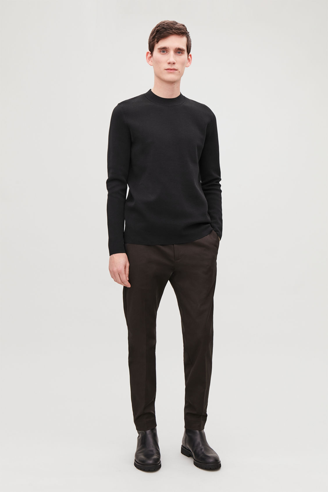 Model front image of Cos skinny stretch-cotton trousers in brown