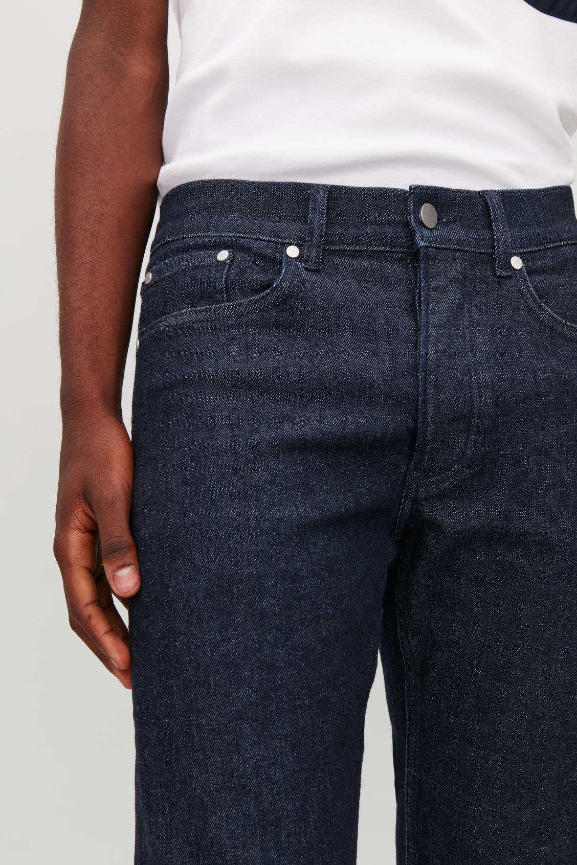 Model side image of Cos skinny leg jeans in blue