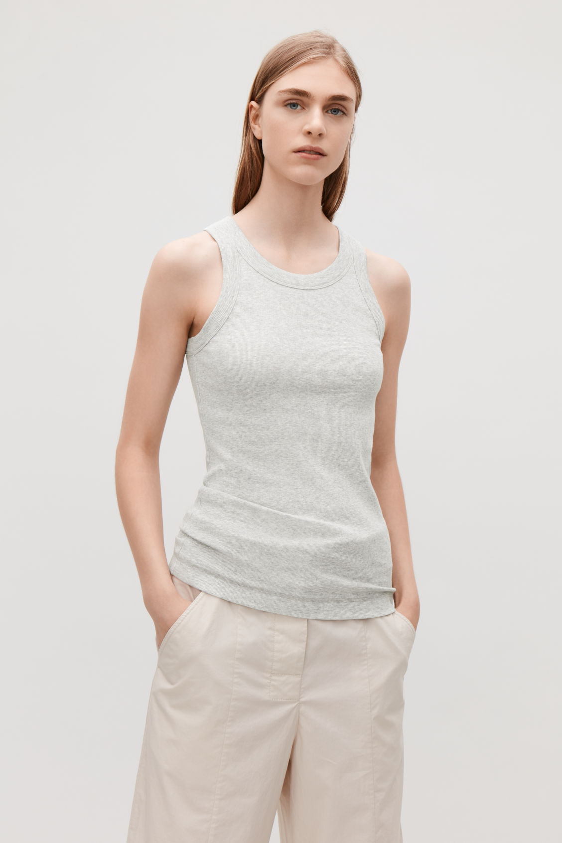 Model side image of Cos ribbed jersey vest top in grey