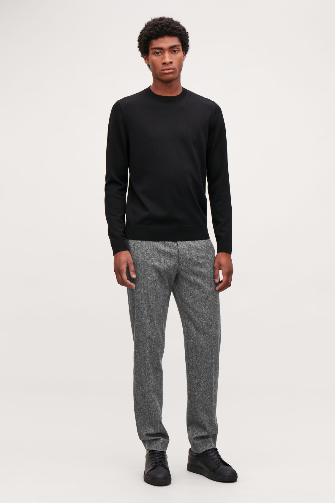 Model front image of Cos merino wool jumper in black