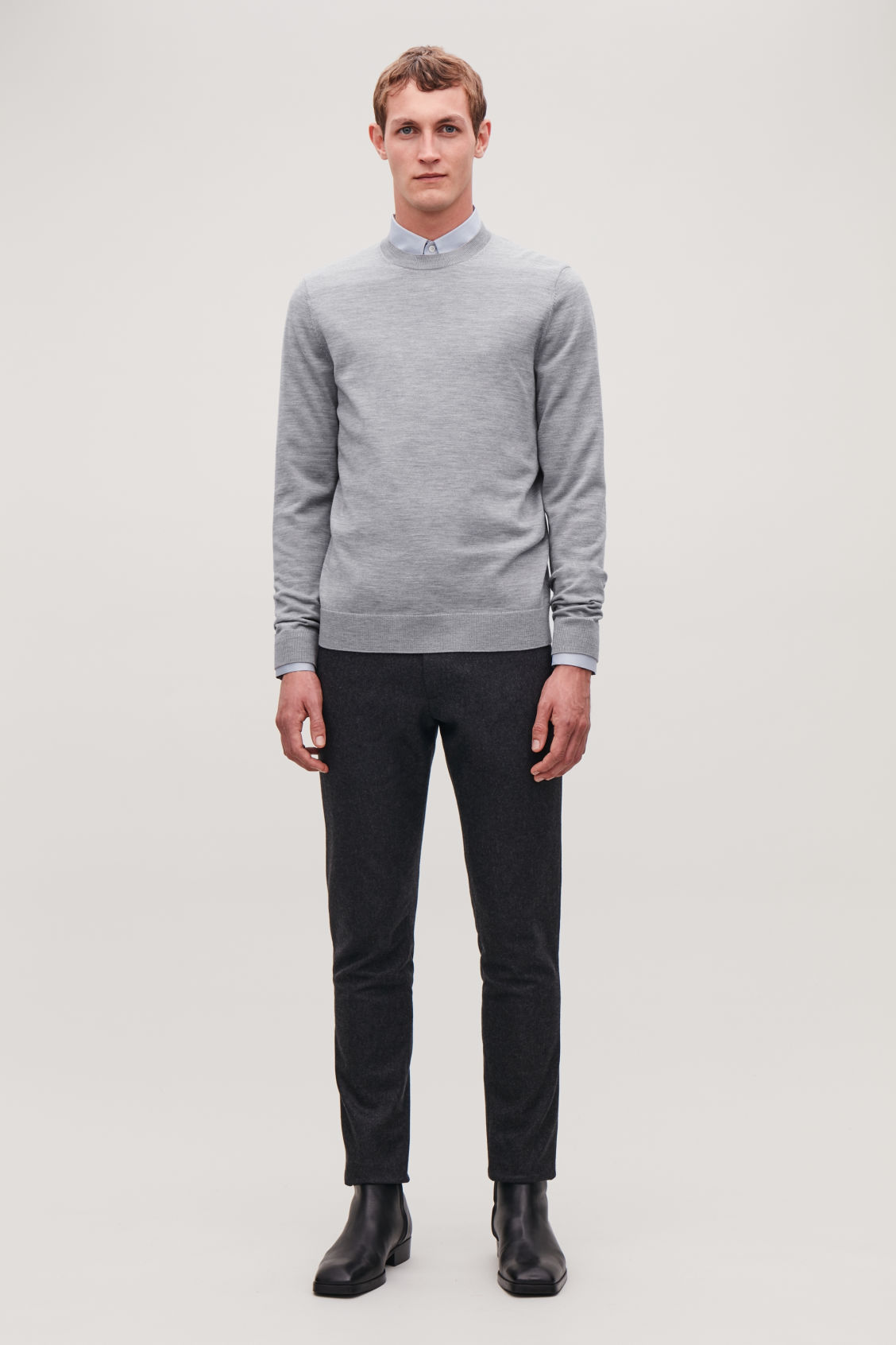 Model front image of Cos merino wool jumper in grey