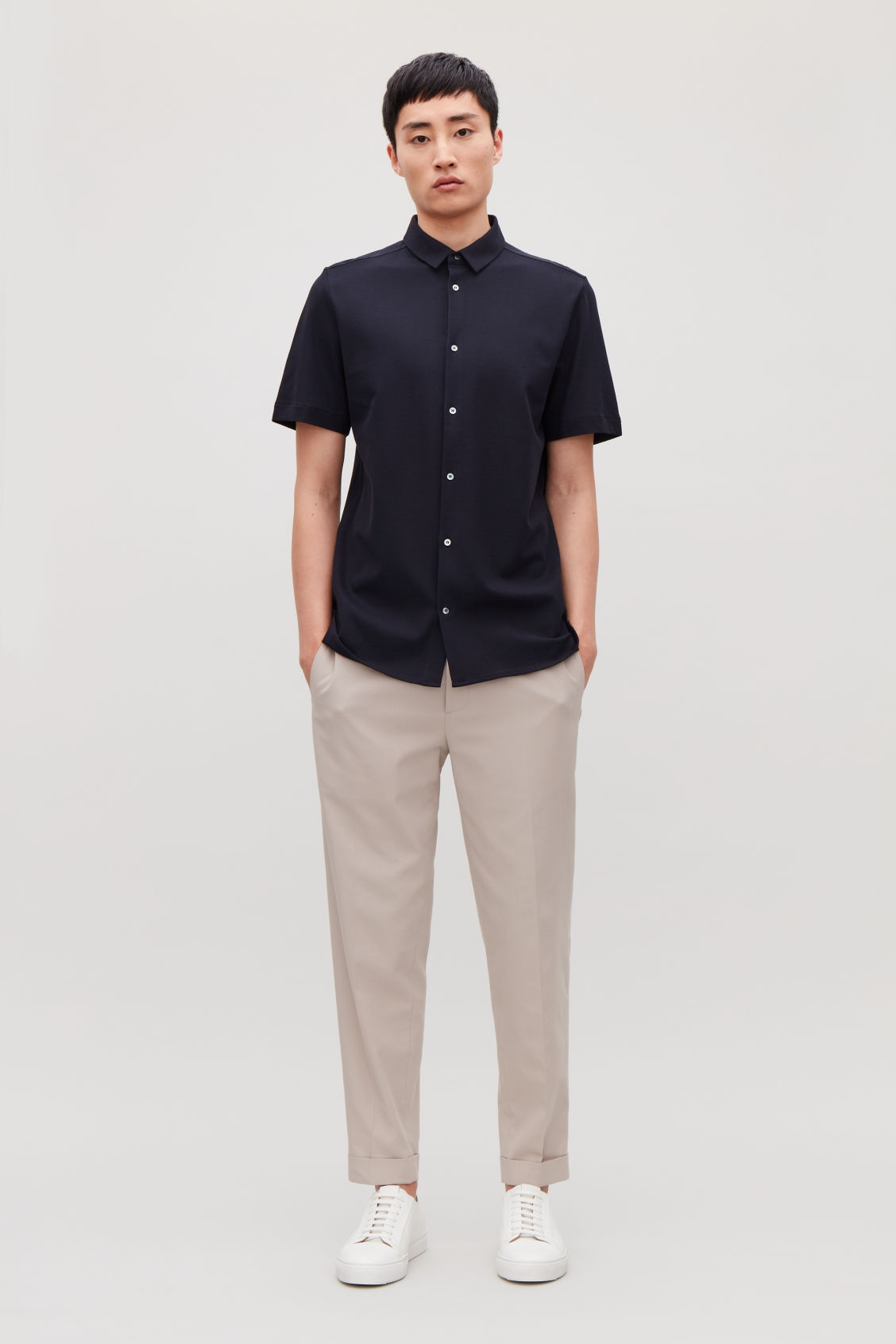 Model front image of Cos short-sleeved pique shirt in blue
