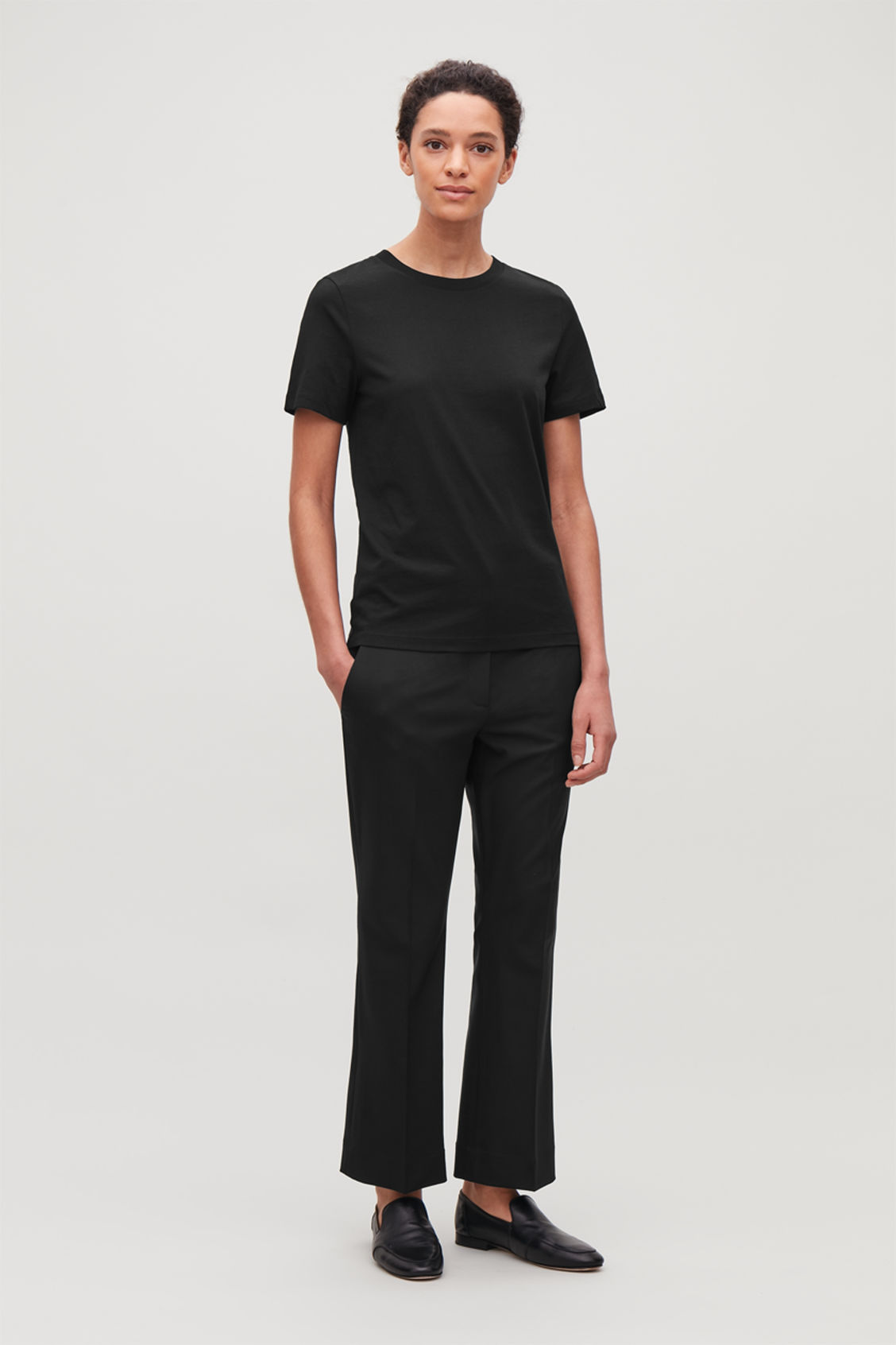 Model front image of Cos cotton t-shirt in black