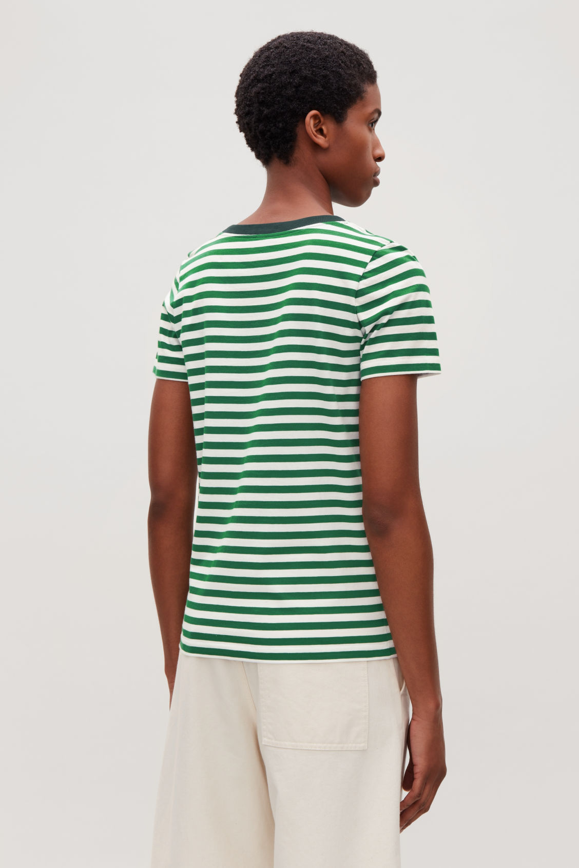 Model side image of Cos pima cotton t-shirt in green