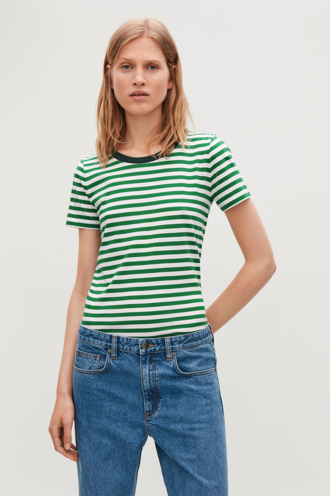 Model side image of Cos cotton t-shirt in green