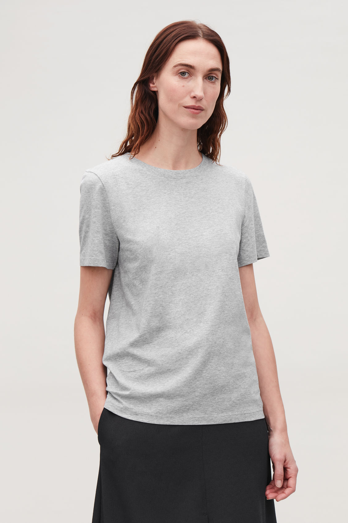Model side image of Cos cotton t-shirt in grey