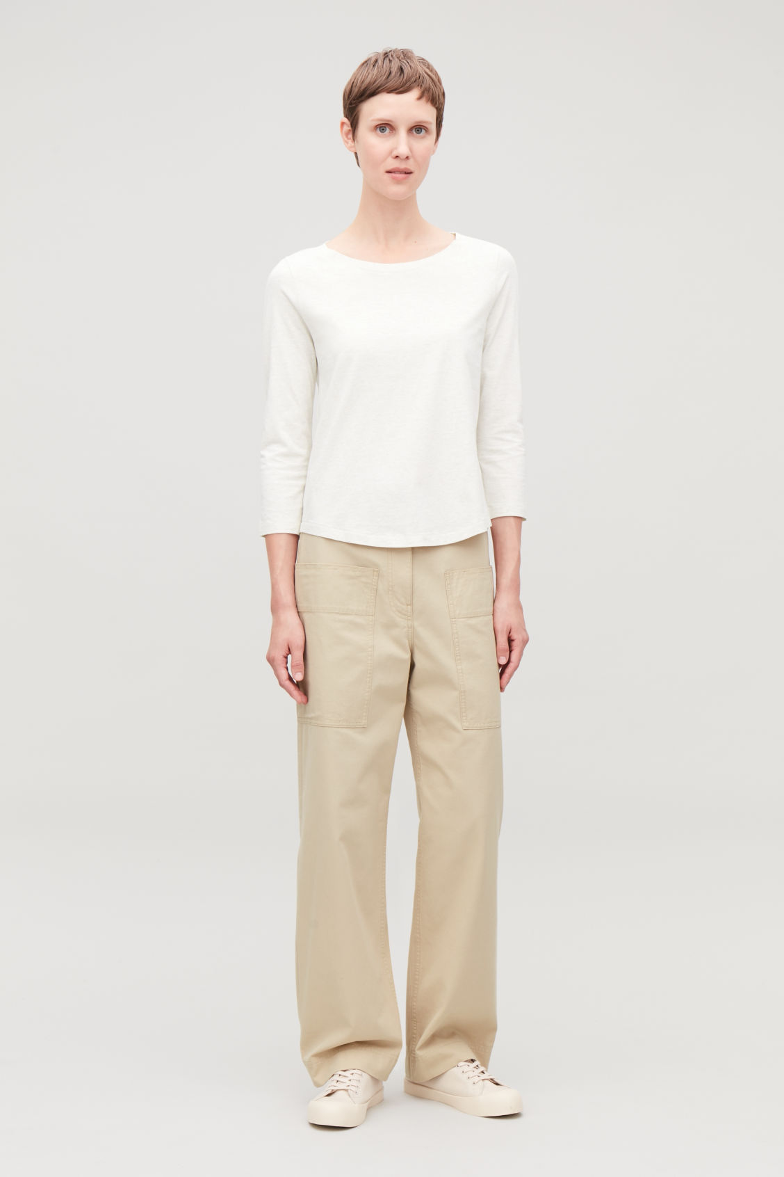 Model front image of Cos ¾-sleeved cotton top in beige