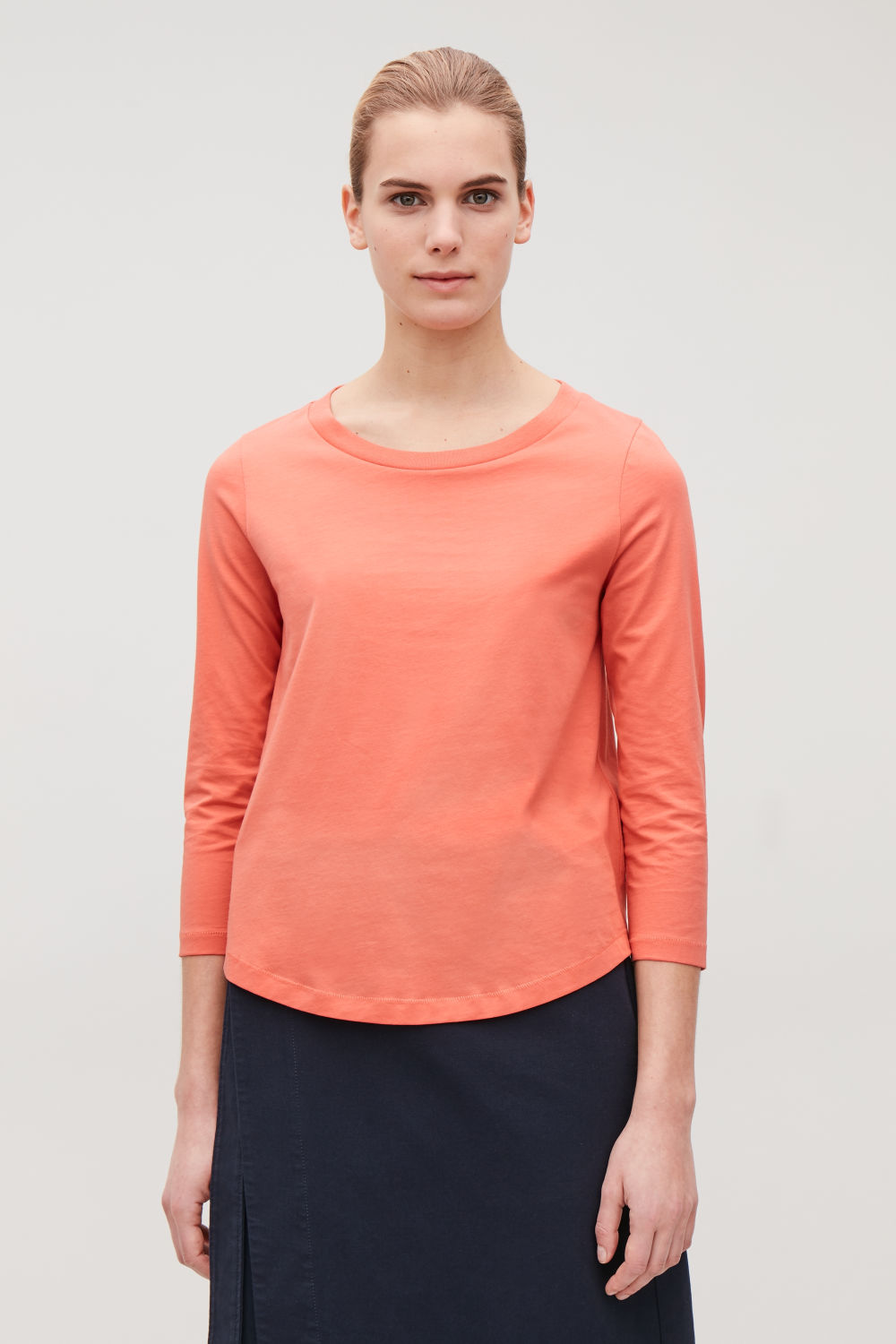 de0c6aefb37f7 ¾-SLEEVED COTTON TOP ...