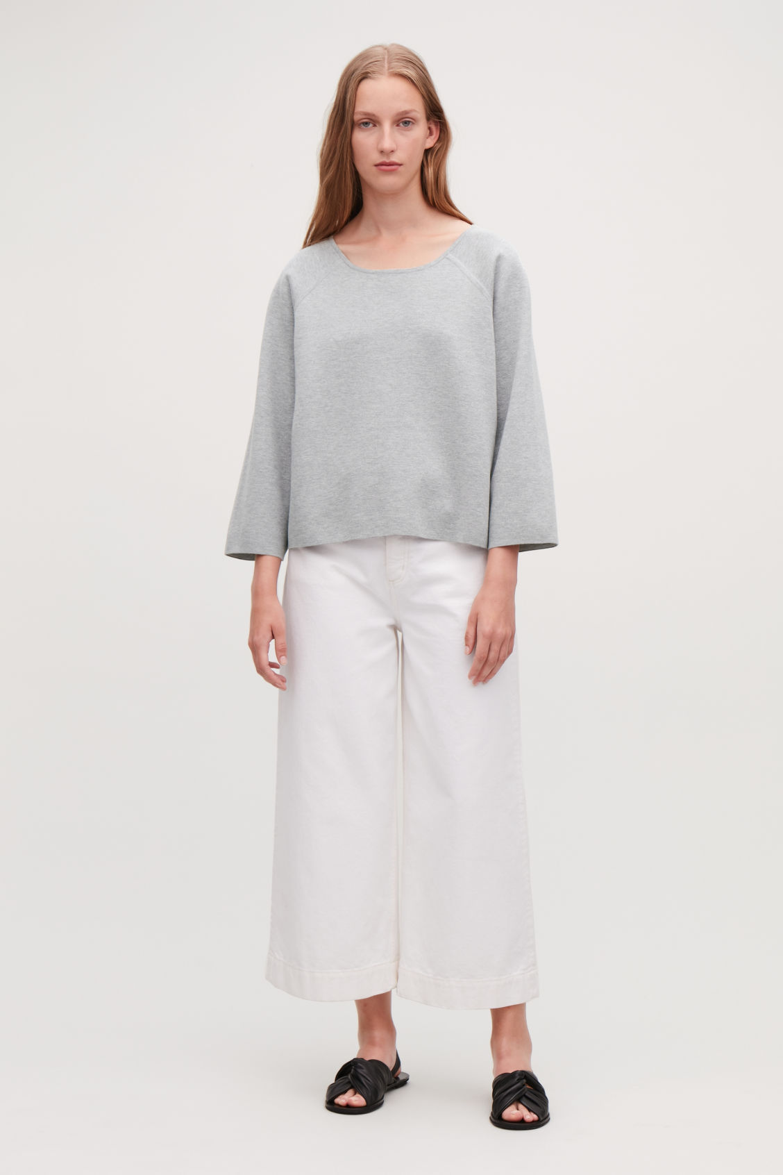 Model front image of Cos cotton-cashmere knit top in grey